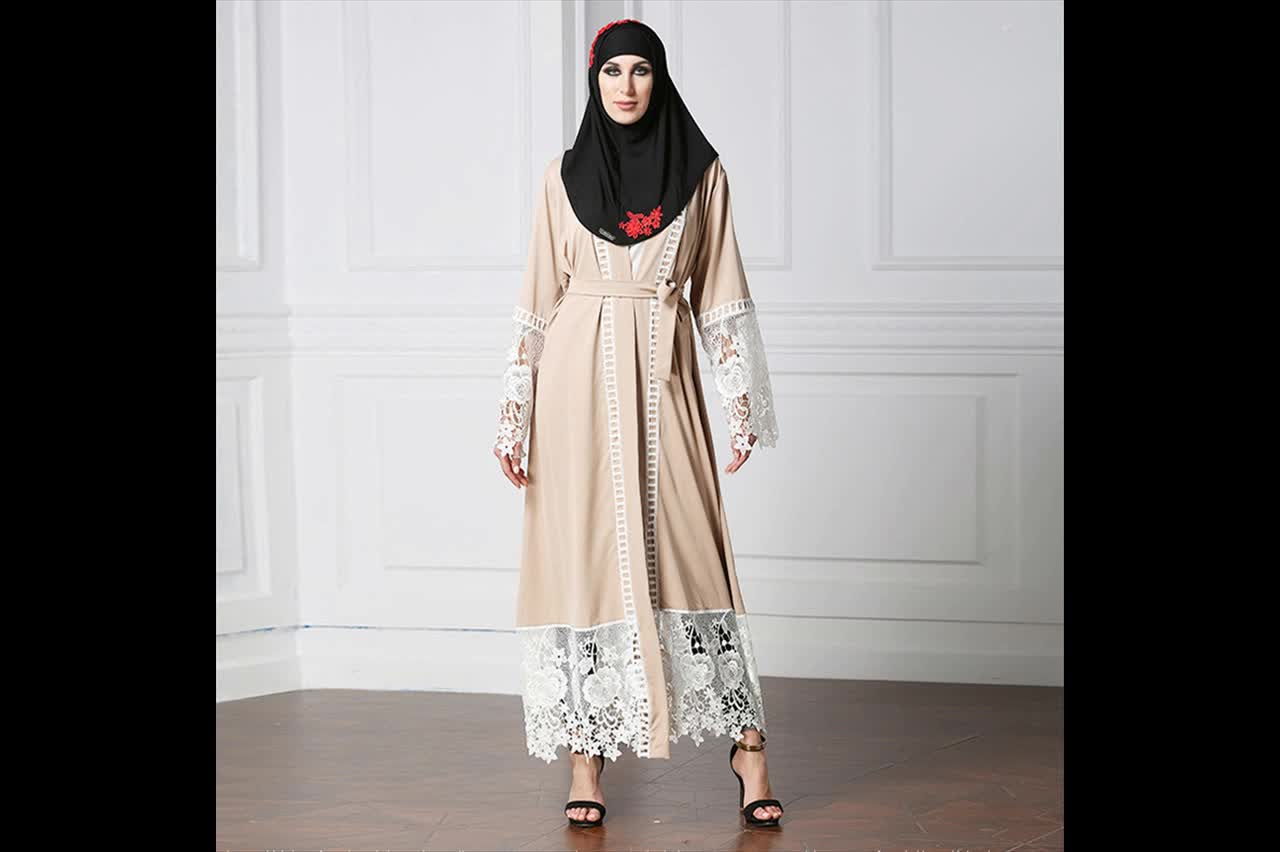 2018 Designer big size(S-5XL)  muslim dress high quality open  abaya with lace for women in summer manufacturer