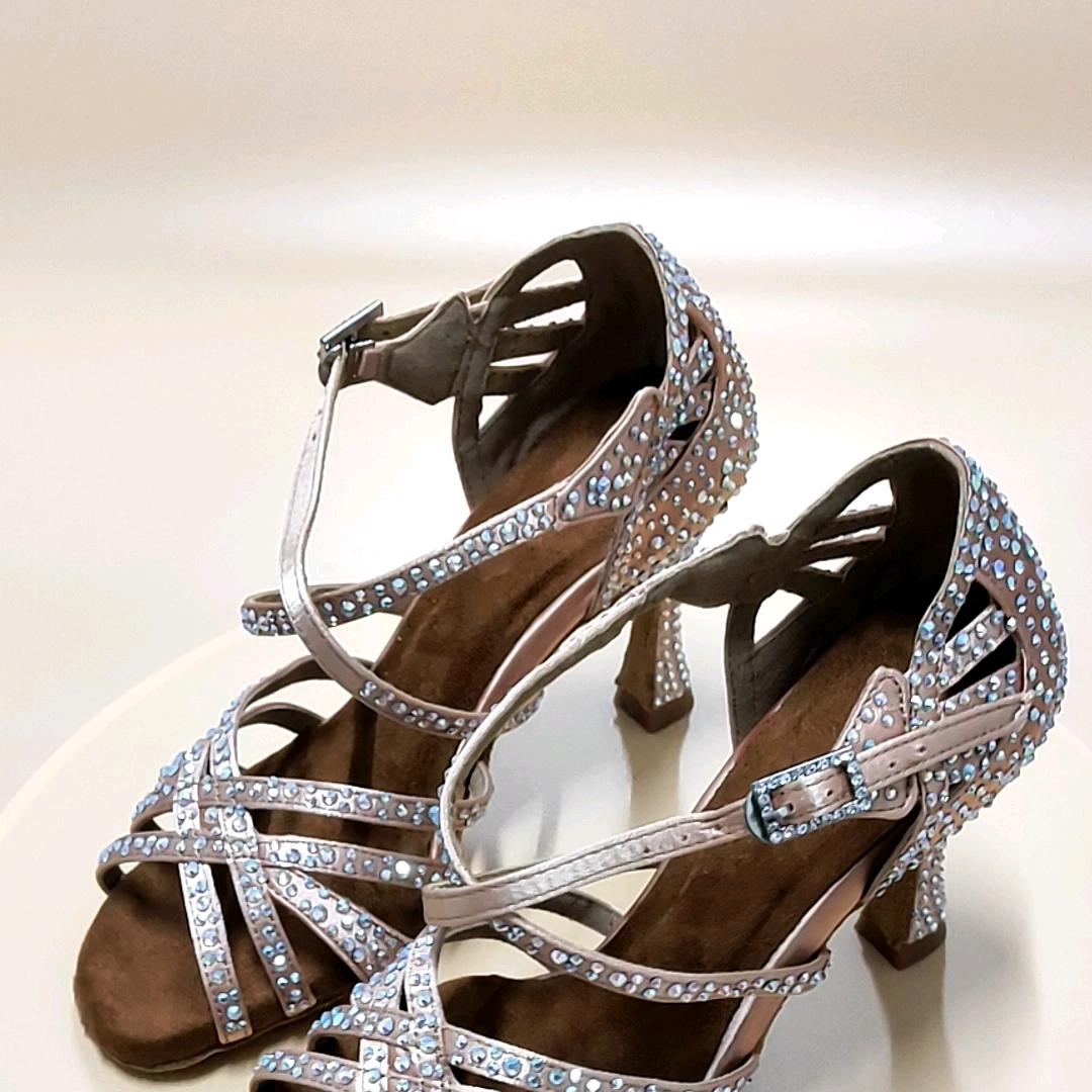 Nuevos productos 2020, zapatos de baile de satén, zapatos de baile con pedrería superior, zapatos de baile para mujeres, zapatos de baile latino, zapatos de baile latino, personalizar el talón
