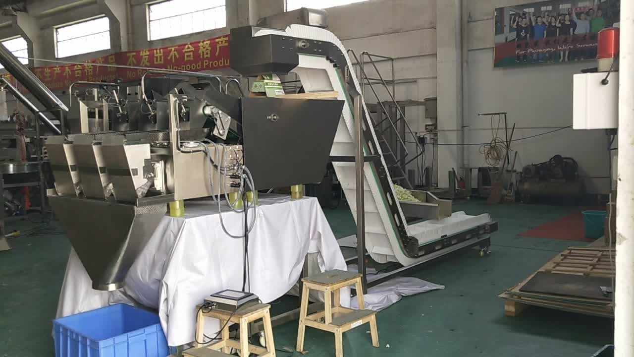 Smart 3head linear weighing packing machine for salad fresh vegetables, olive, cheery, haw