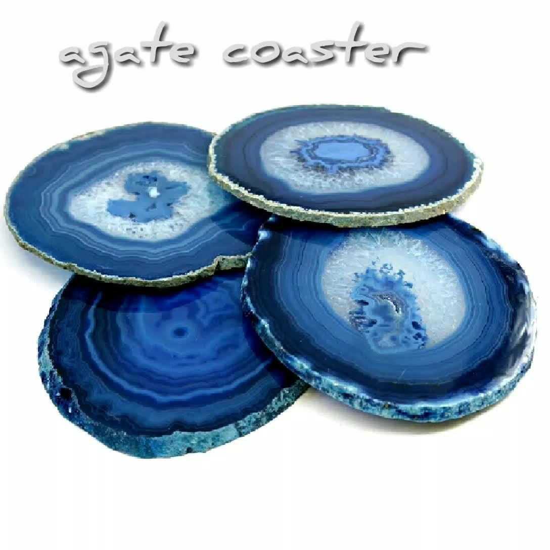 Natura Agata Accessori, fette di agata blu sottobicchiere coppa mats Sottobicchieri per la Cerimonia Nuziale