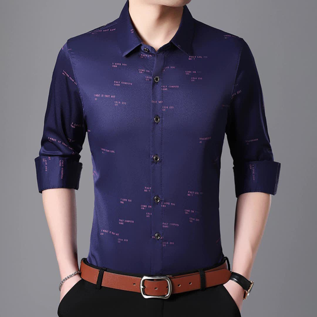 Hot sale summer breathable western style long sleeve letter print man's uniform blouse shirt