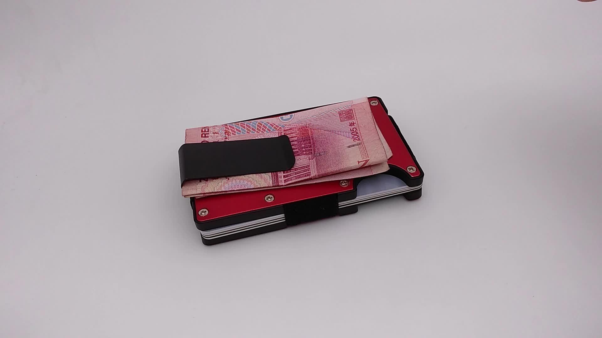 Wholesale aluminium credit card holder business gift slim pocket money clip wallet
