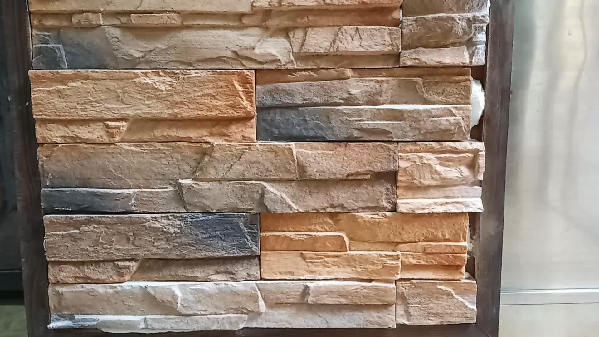 Alam Batu Ditumpuk Melihat Buatan Dinding Bata Beton Efek Panel