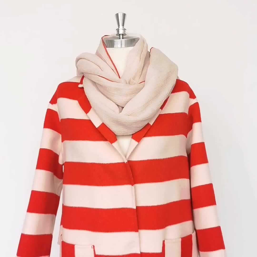 ยาวสีแดงและสีขาวลายชุดสูท 100 ขนสัตว์ Casual เสื้อผู้หญิง
