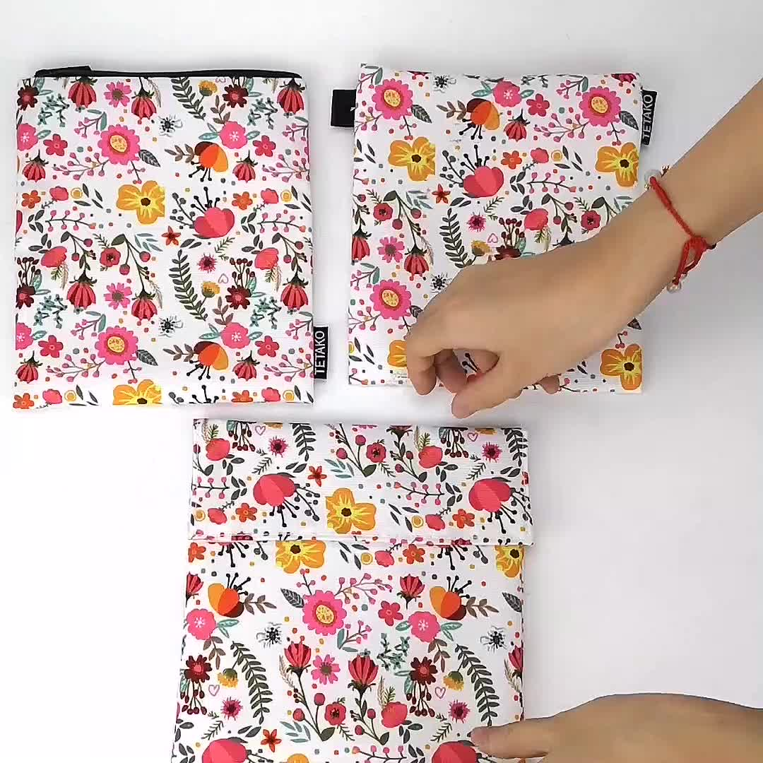 Custom ECO Friendly Washable Printed Lunch Food Snack Bags Zipper Set Sandwich Bag Reusable