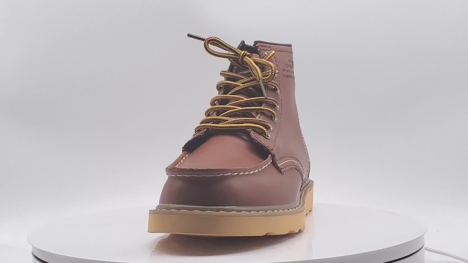 Großhandel Moc Kappe Männer Arbeiten Stiefel Schuhe High Top Leder Casual Schuhe Männer Ankle Chukka Stiefel