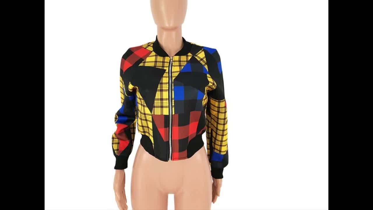 Ready to ship OEM ODM M6065 fashion plus size colorful contrast color patchwork plaid women jacket