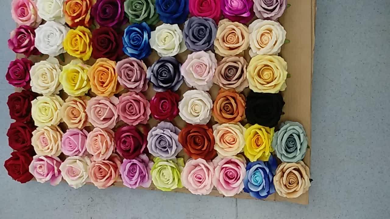 स्वनिर्धारित 10 cm व्यास कृत्रिम रेशम मखमल गुलाब फूल सिर