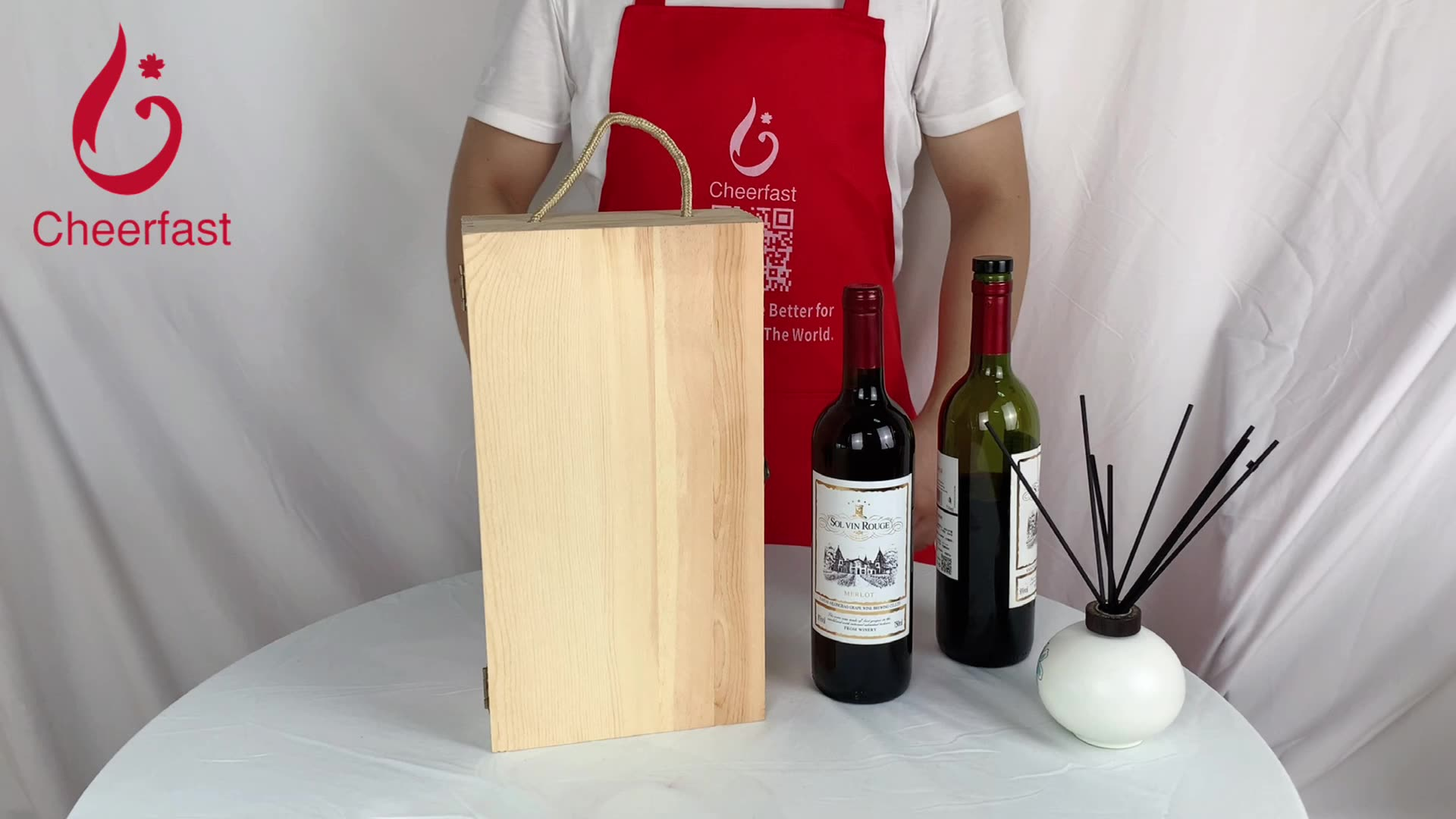 Splendid Gift Packaging Pine Wood Double Wine Bottle Box
