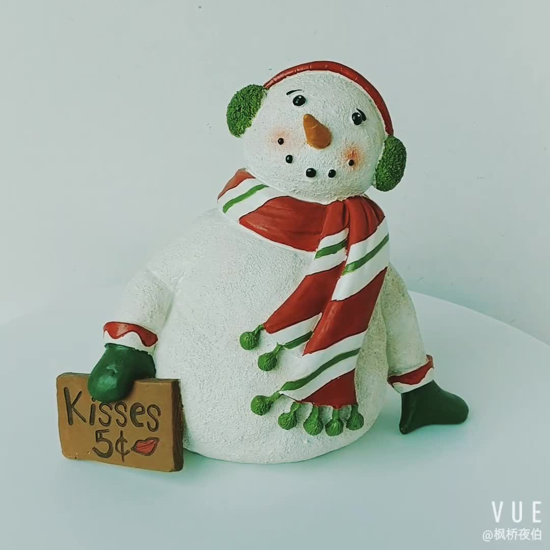 8 Inch Christmas Decoration Tabletop Decor Resin Snowman Figurine  with Sign