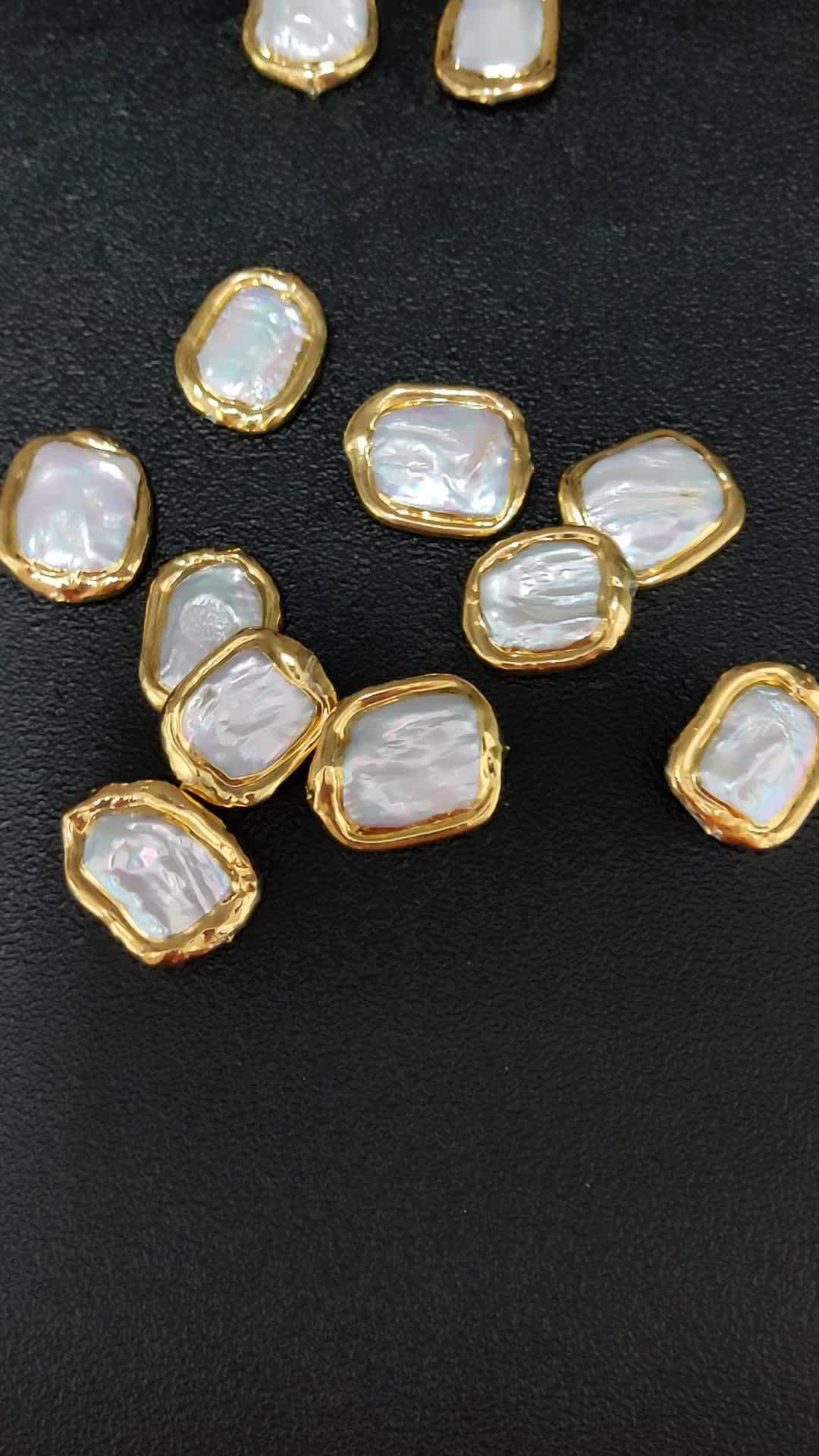 Reale placcatura In Oro Bianco Naturale Perla Irregolare di Forma Quadrata misura Branelli Ciondola Gli Orecchini di Modo Dei Monili La Collana Che Fa