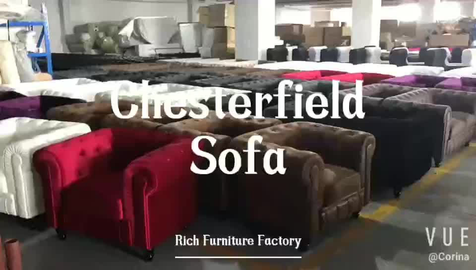 European style red velvet chesterfield sofa cover furniture in China