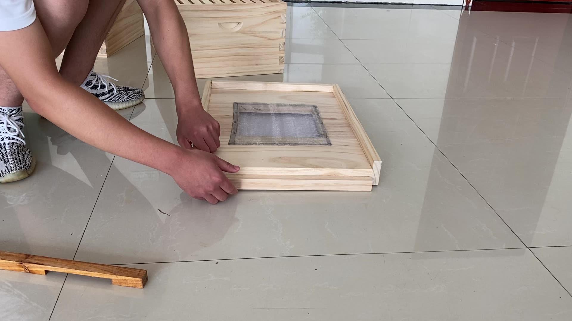 2020 yeni arıcılık arı kutusu artı ekran alt 20 ahşap çerçeveler balmumu vakfı ile ana arı ızgarası Langstroth ahşap arı kovanı