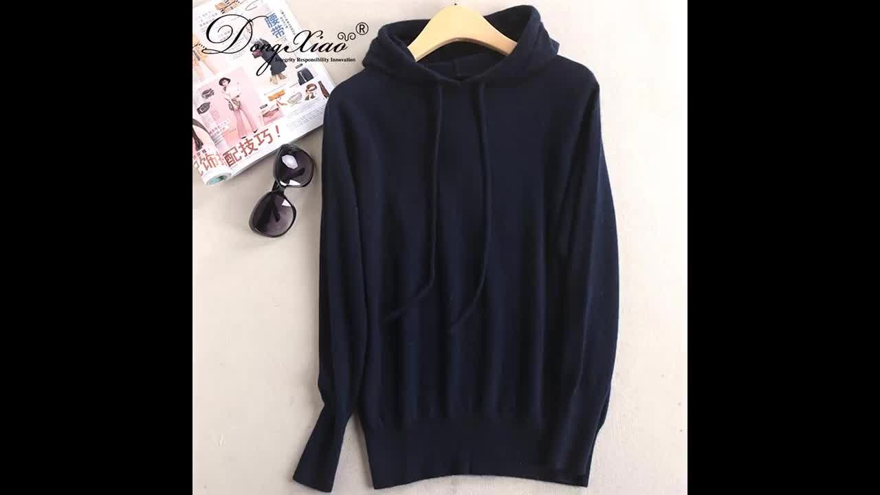 100% cashmere knitted young lady grey hoodie sweater