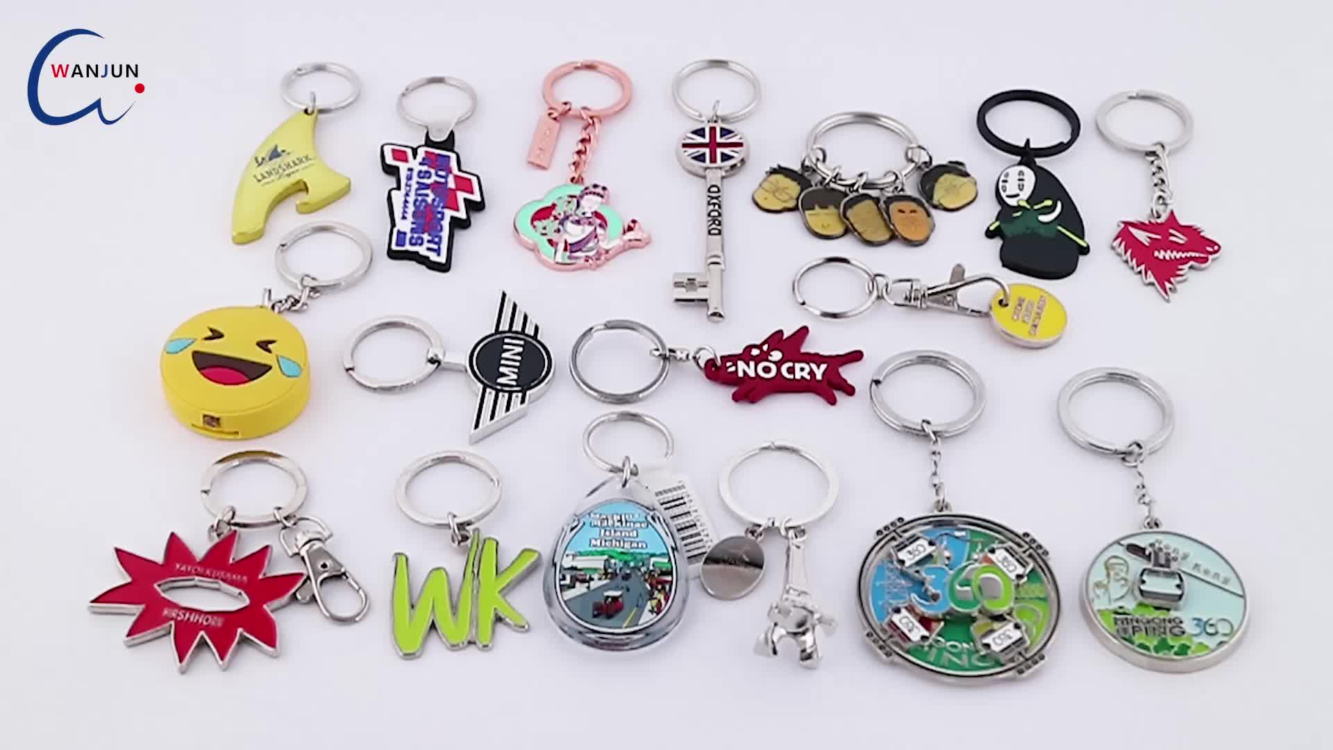 Manufacturing china own custom with logo toy doll colored customized metal zinc alloy key chain ring