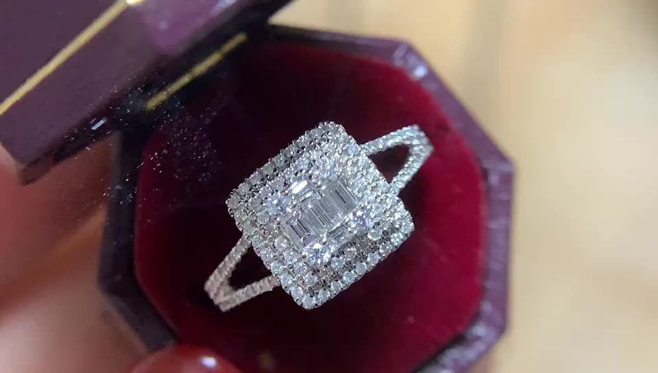 Free shipping Luxury Simple Style Square Shaped Design Real Shiny Square Wedding Diamond Ring in Solid Gold