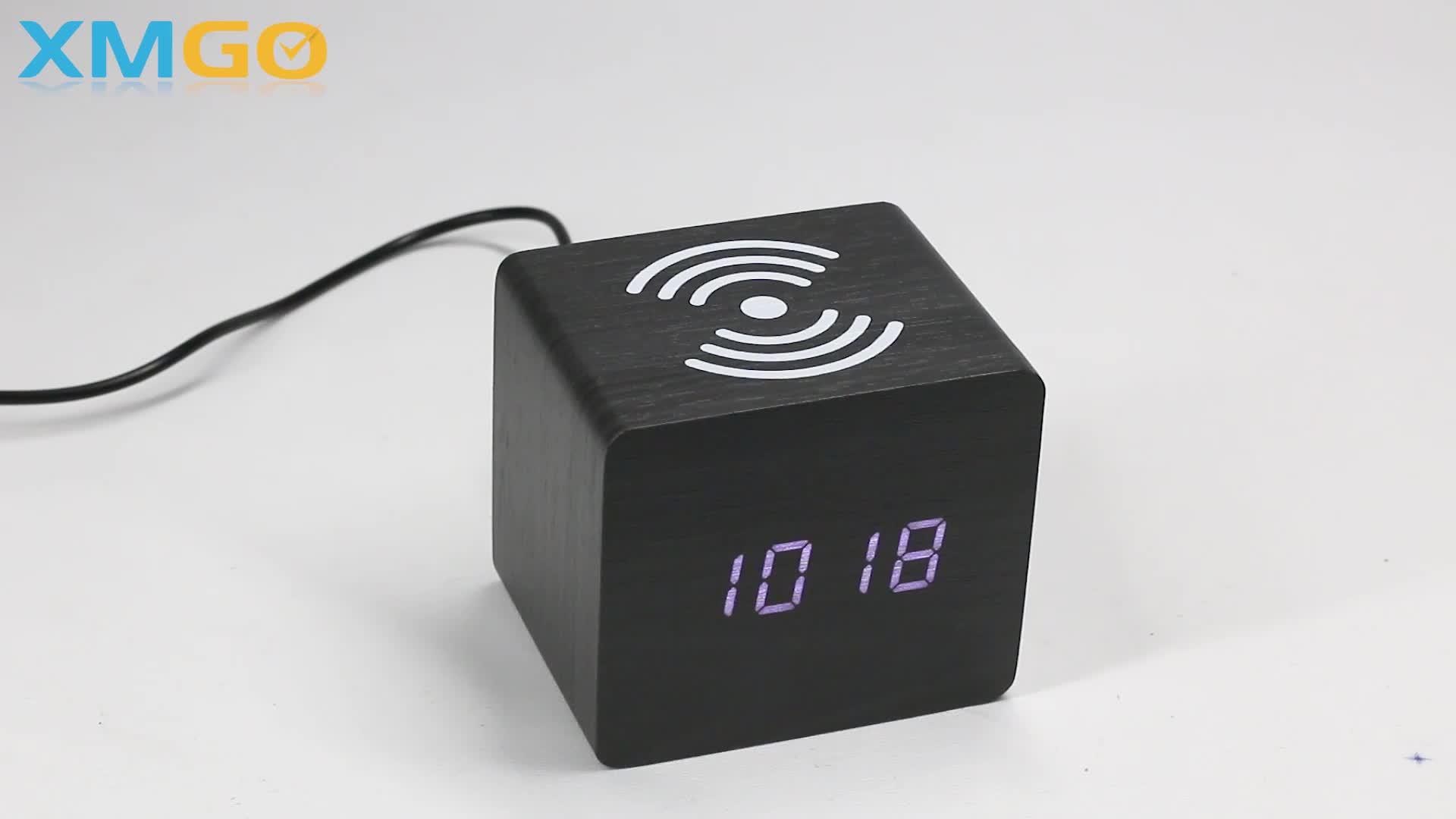 KH-WC020 KONING HOOGTE Nieuwe Promotie Cube Qi Draadloze Opladen Wekker