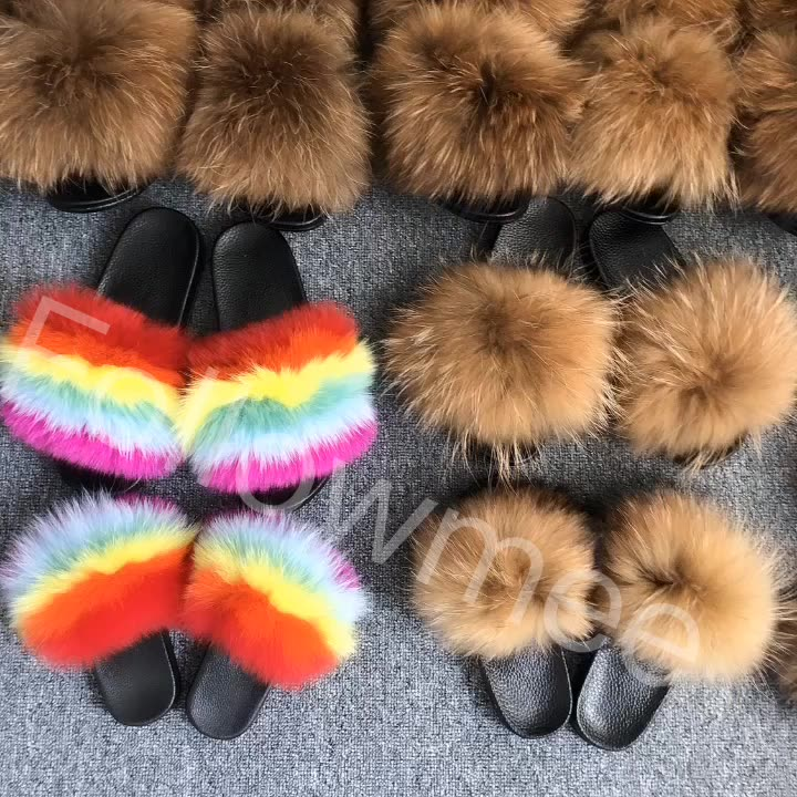 2020 summer women slides sandals logo custom furry fox fur slippers  mommy and me matching fur slides
