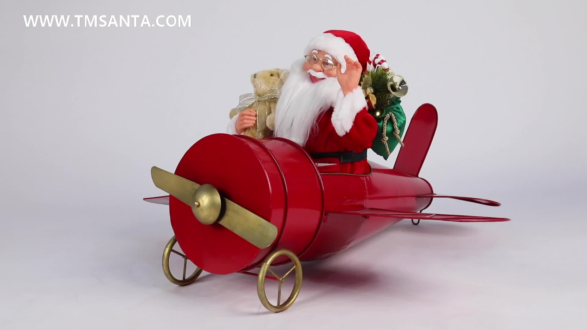 80cm Christmas Musical Animated Santa Claus Sitting  Red Plane Decoration Figurine Classic Holiday Ornament gifts collection