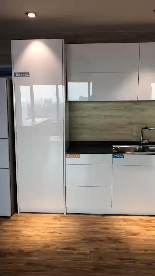 Moderne Malerei Solide Teak Holz Küche Schrank