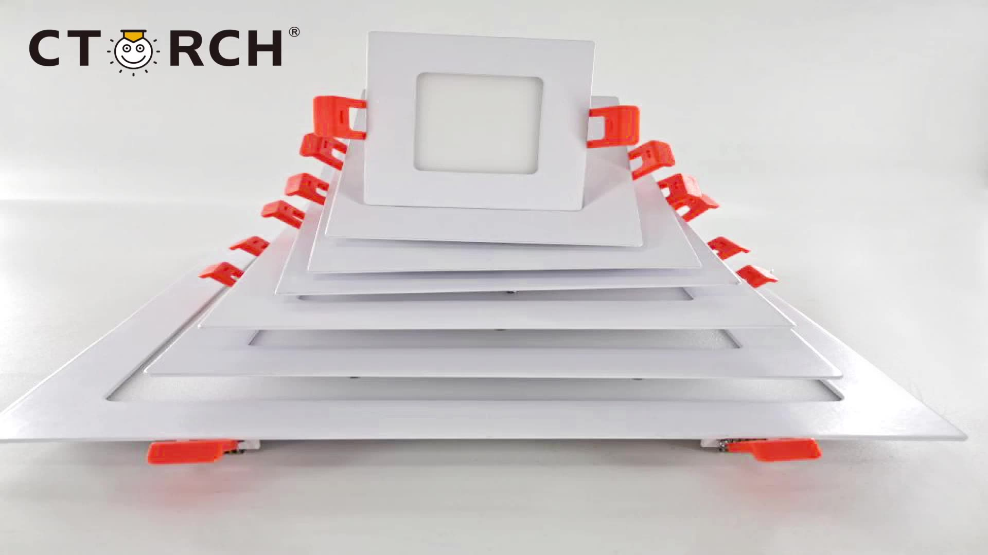 CTORCH Installation Square Slim Aluminum Ceiling Led Panel Light With 3W 6W 9W 12W 15W 18W 24W