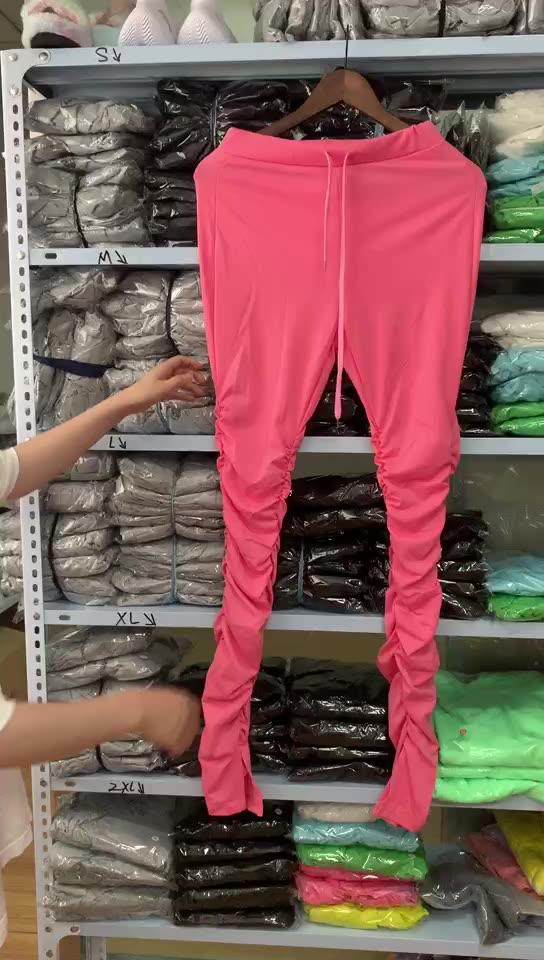 2020 แฟชั่นผู้หญิงกลางเอวผูกซ้อนLeggingsกางเกง