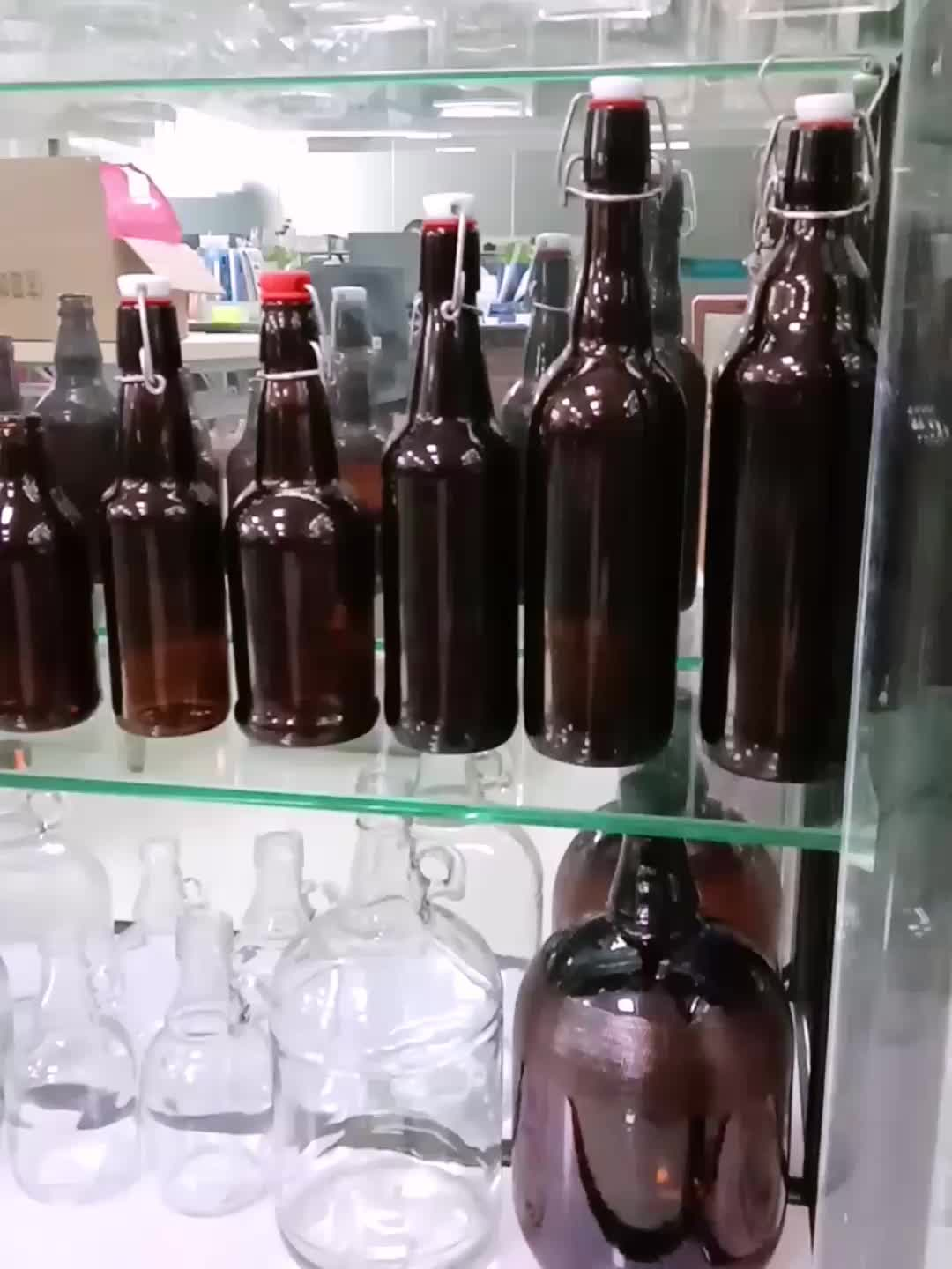Botella de cerveza ámbar de 500ml con botella de vidrio swing top