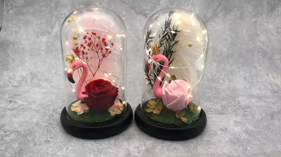 Factory direct new Christmas decoration artificial flowers flamingo eternal rose in glass with LED light