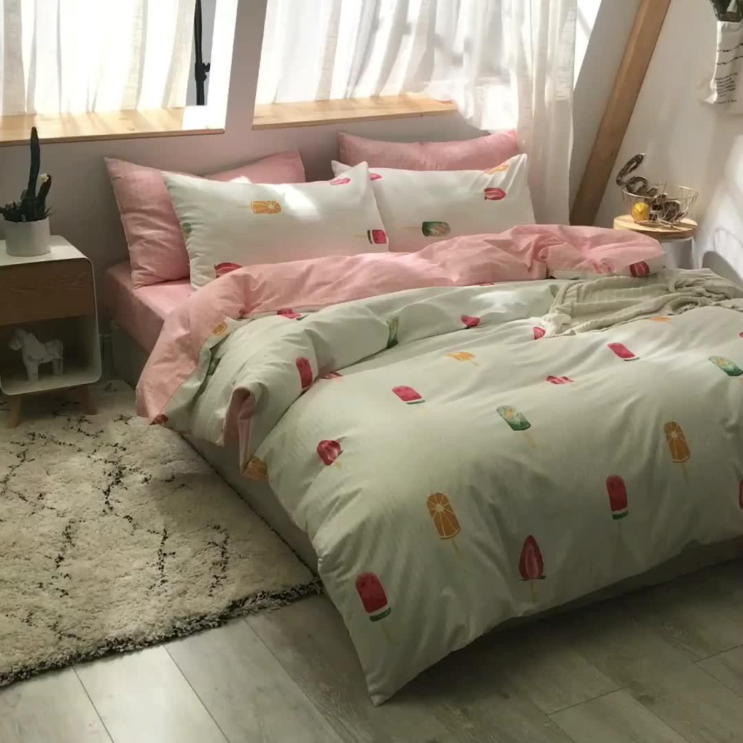 Luxury 3pcs home 3D Print Linen 100% Cotton Bedding Duvet Cover Sets