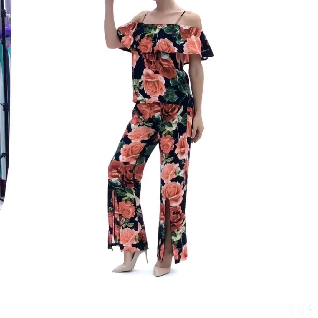 ファッションエレガントなカジュアルフラワープリント衣装 2 ツーピースセット女性服