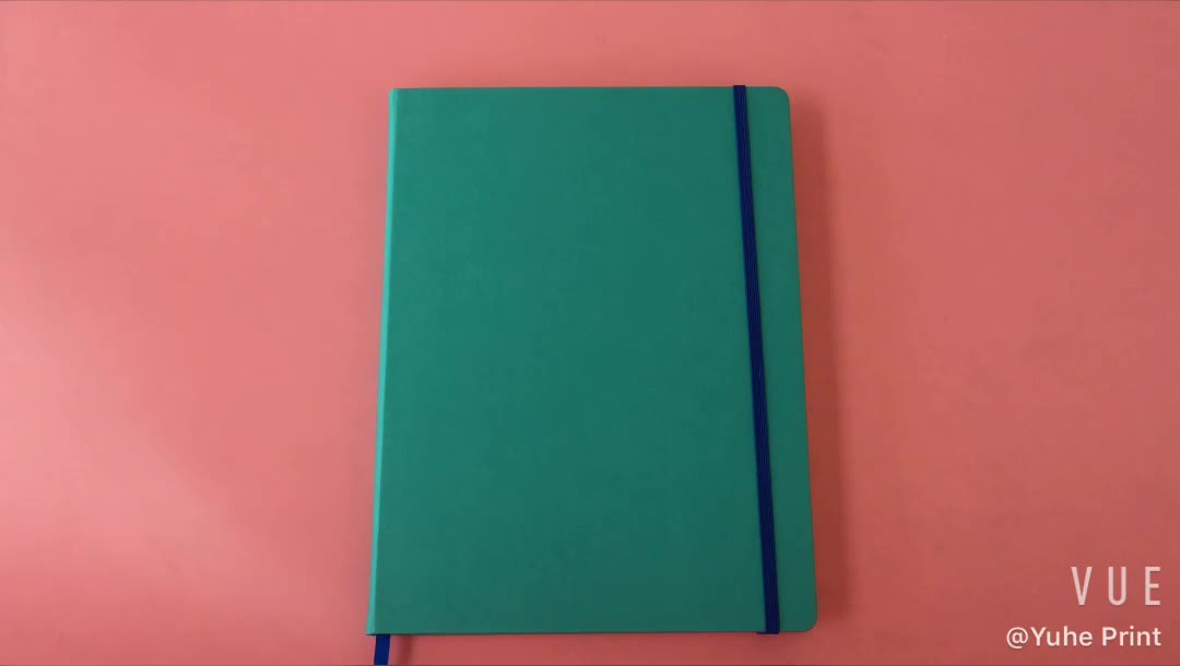 2020 Sewn and glue binding hardcover custom blue pu leather notebook diary planner print