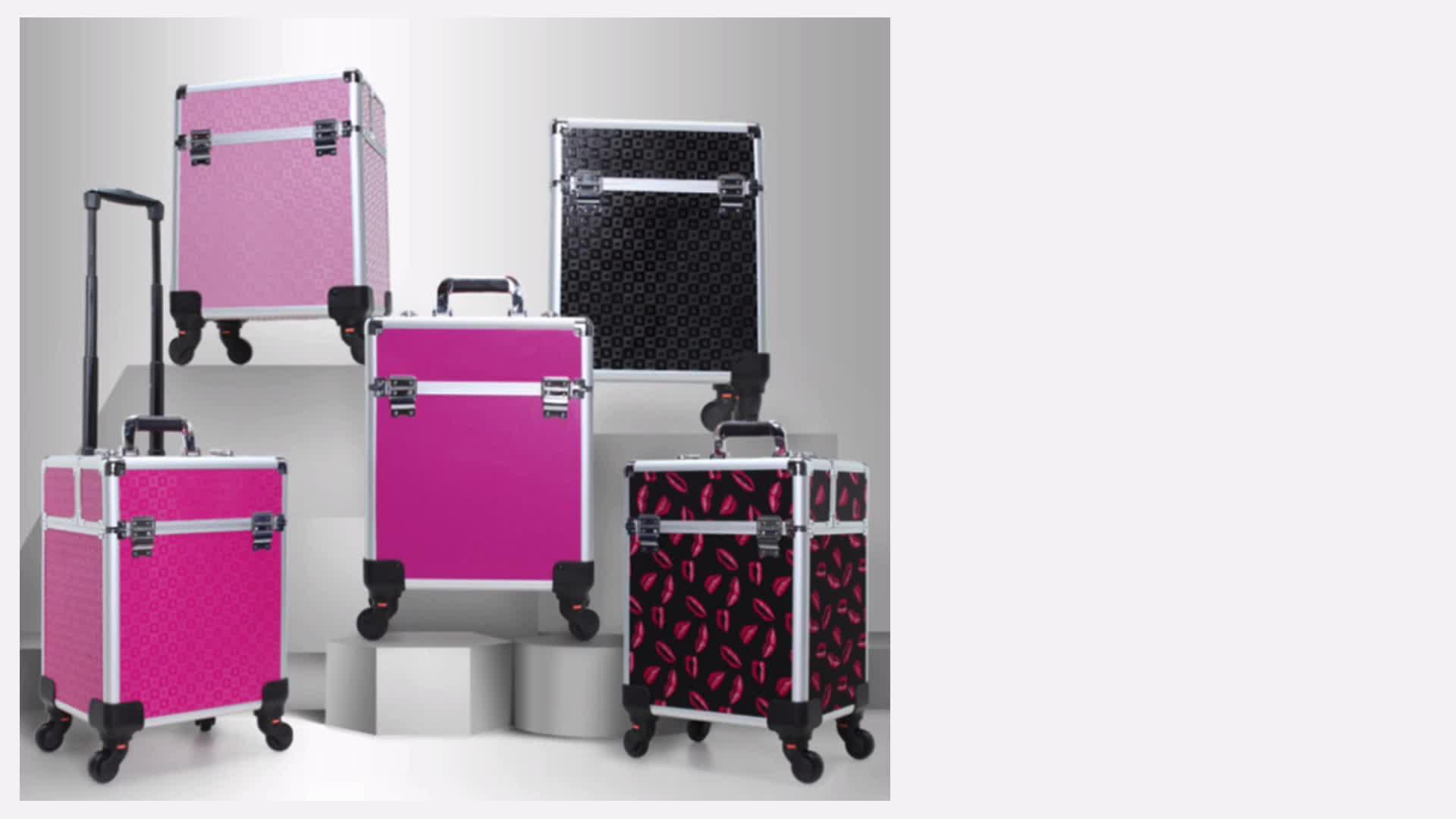 wholesale Professional Portable Aluminum cosmetic vanity case trolley box makeup train case