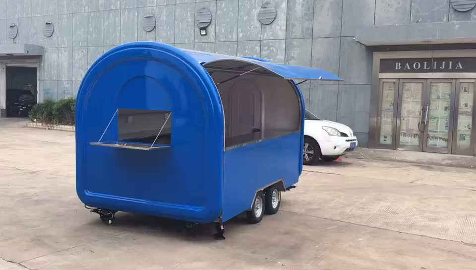 Customised stainless steel BBQ ice cream food truck mobile food trailer for sale