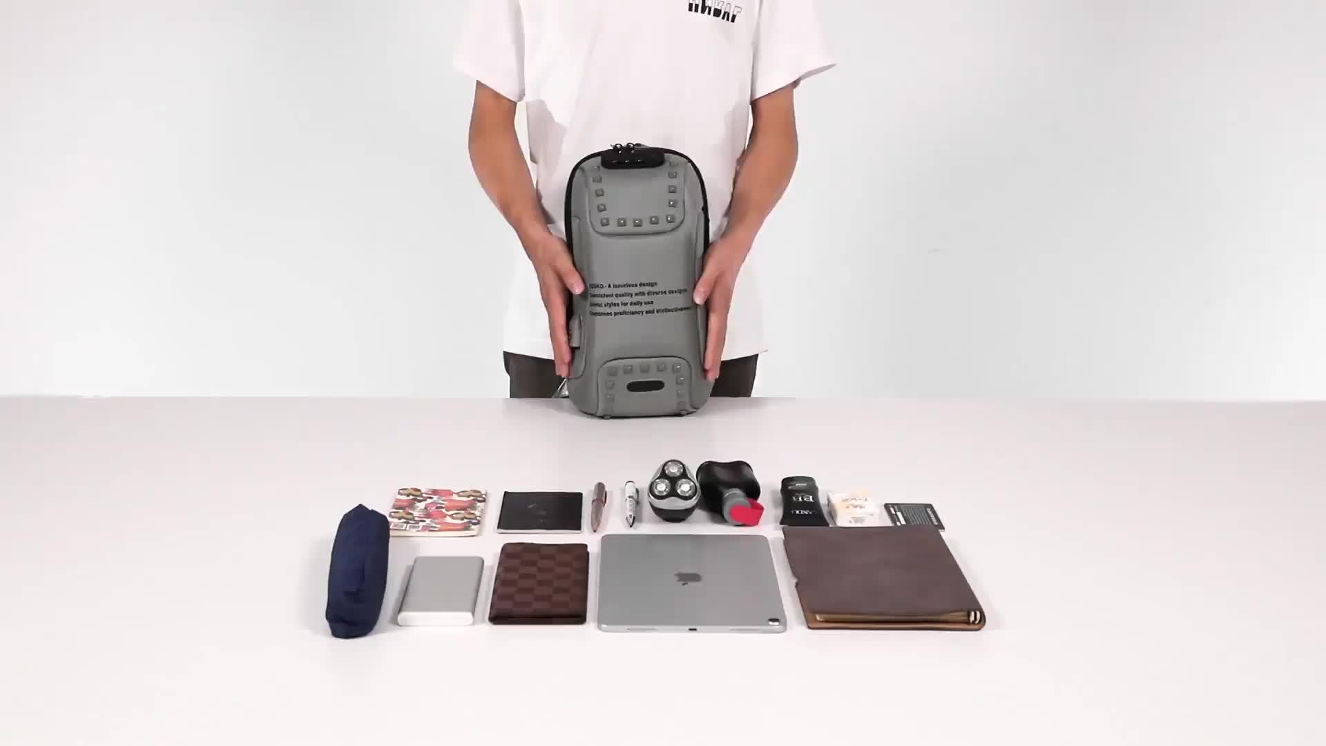 Ozuko Mode Mannen Klinknagel Crossbody Zakken Anti-Diefstal Messenger Bag Usb Opladen Borst Pakken Korte Trip Waterafstotend Schouder tas