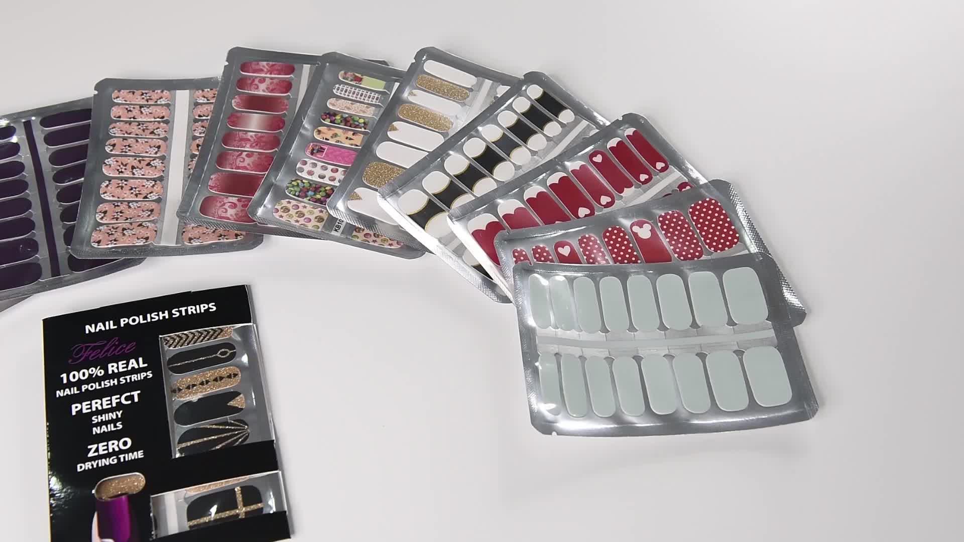 Wholesale Non-toxic Nail Sticker Nail Polish Wraps/Nail Polish Strips /100% Real Nail Sticker