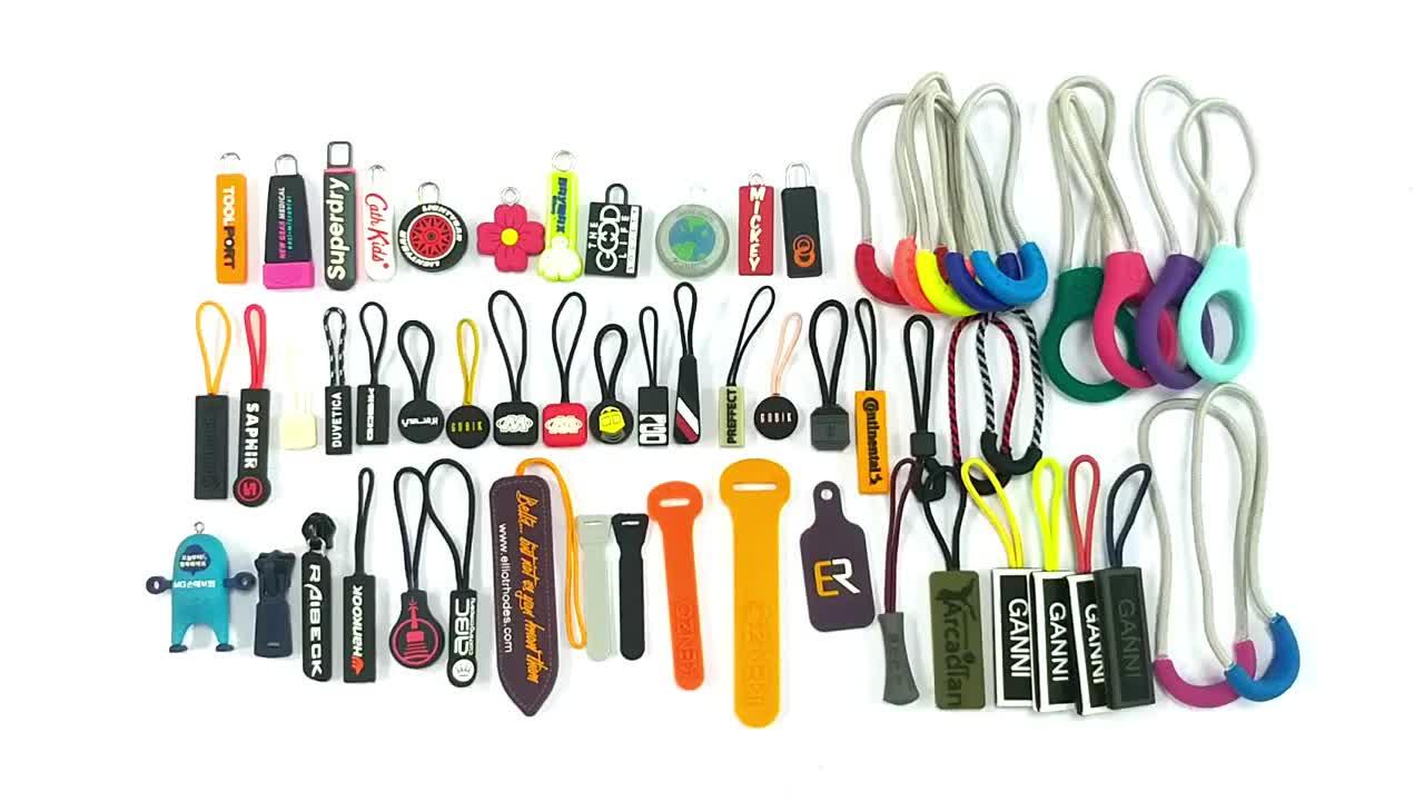 Custom logo kleur siliconen rubber rits pull charms tabs designer ritsen cord slider puller