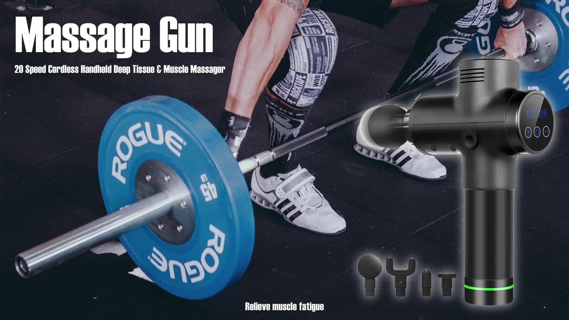 2020 arma de massagem muscular de vibração de percussão de tecido profundo de 20 velocidades