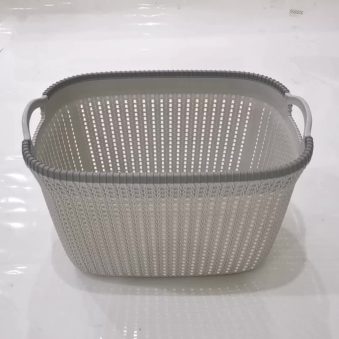 new product plastic woven storage basket set with handle