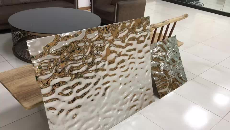 Rippled Water Wave Bright Finish Corrugated decoration Dimple Stamped metal Stainless Steel Sheet