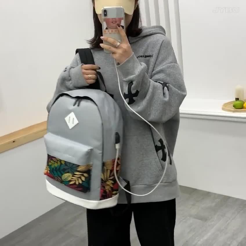 Neue mode multi farbe große kapazität USB laptop rucksack freizeit college taschen rucksack set für frauen