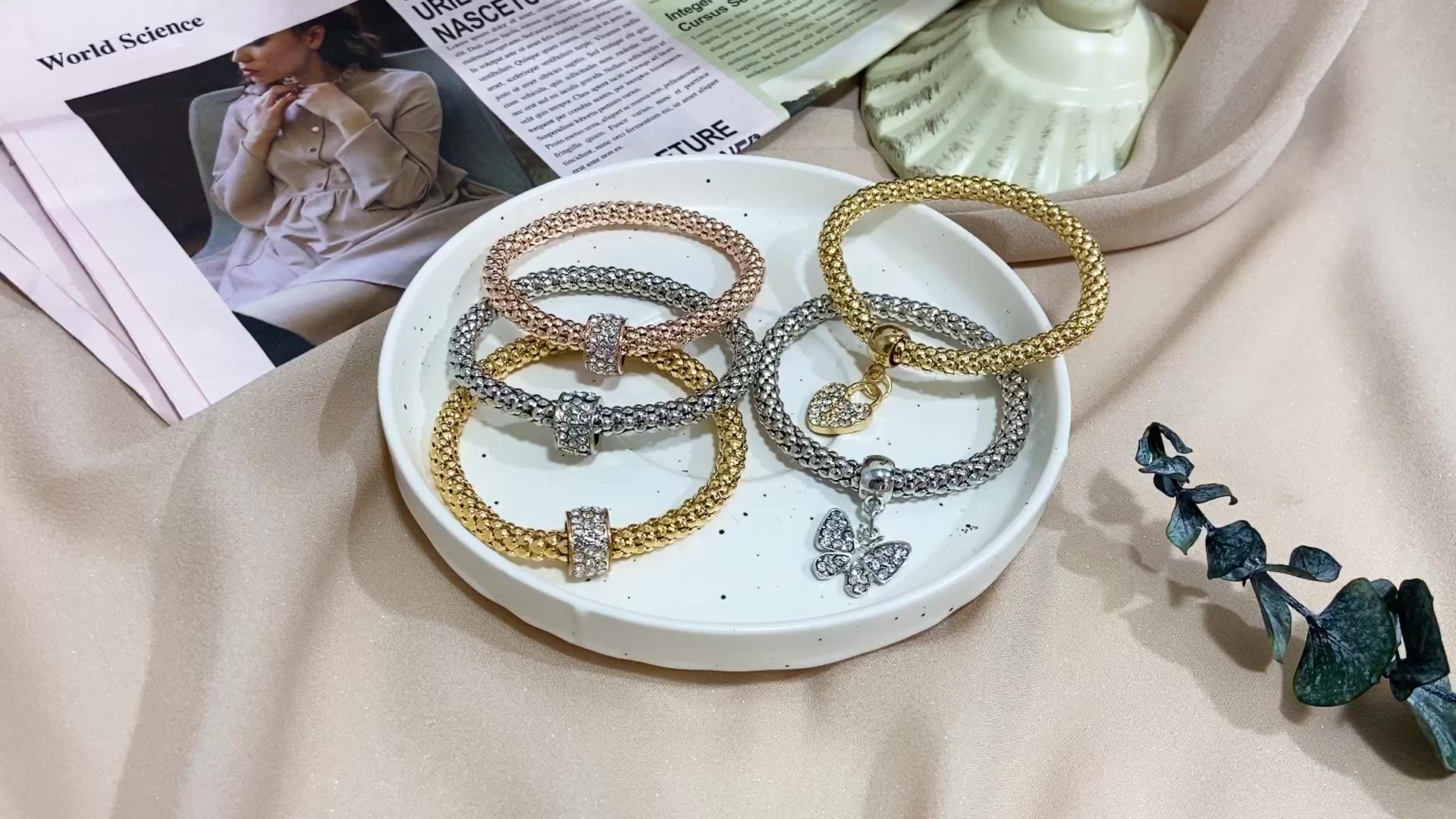 2020 Hot Selling 3 Pcs Crystal Butterfly Popcorn Elastic Bracelets Set Heart Lock Charm Bracelet for Women