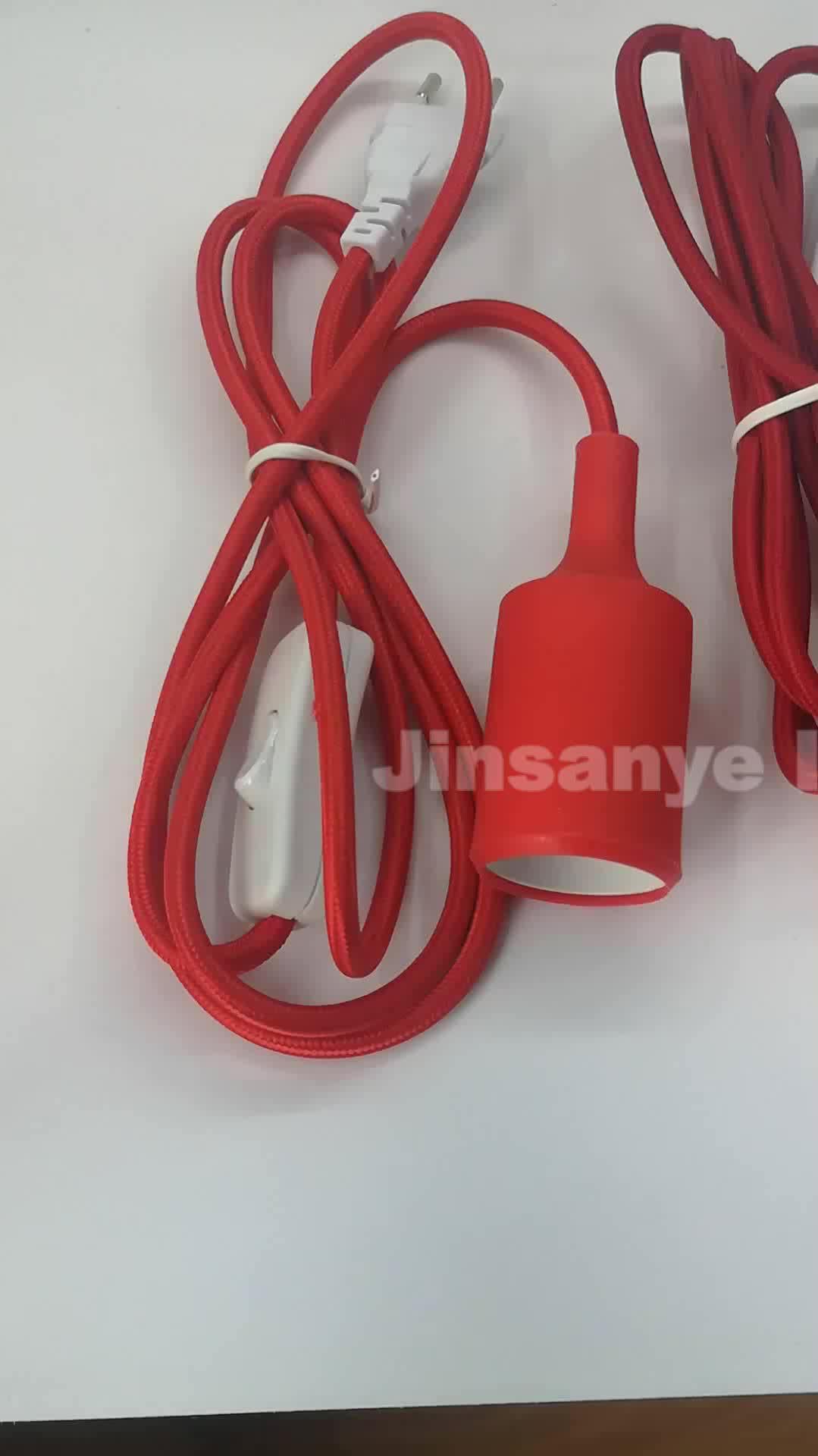 Op off/dimmer plug in elektrische textiel kabel elektrische draad uk verlengsnoer met 3 verlichtingsarmaturen