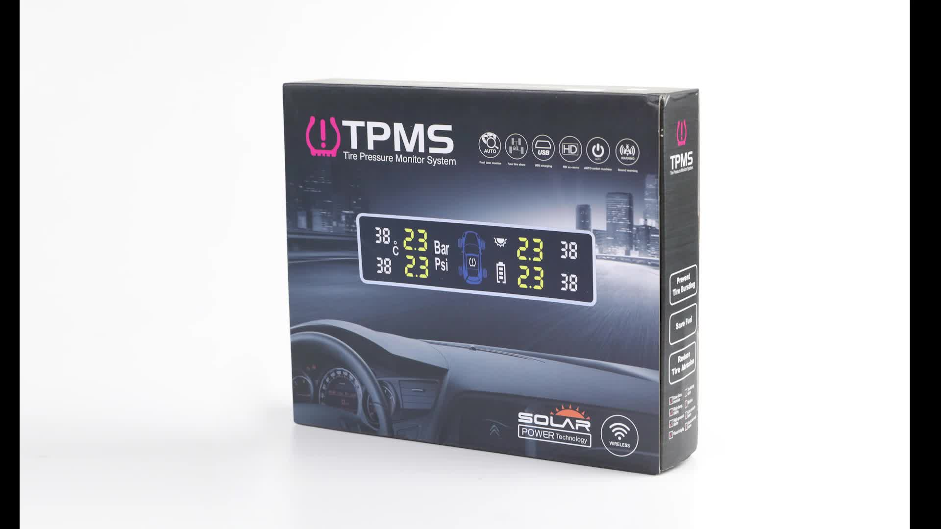 2019 Wholesale TPMS T88 solar power tire pressure monitor system digital tire pressure gauge for cars
