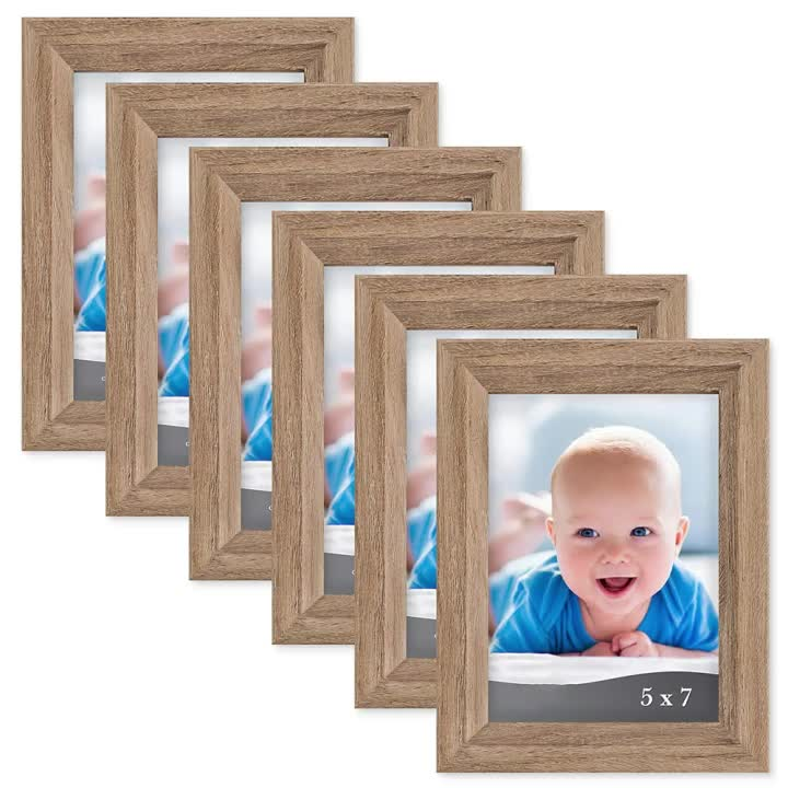 5x7 Picture Frame Dark Oak Wood Photo Frame Composite Wood Frame for Walls or Tables Cherished Memories Collection