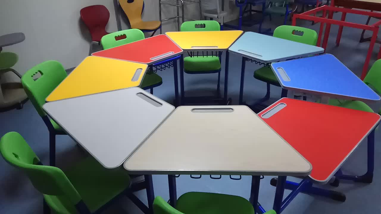 School Library Single Table 8pcs Set Round Desk and Chair