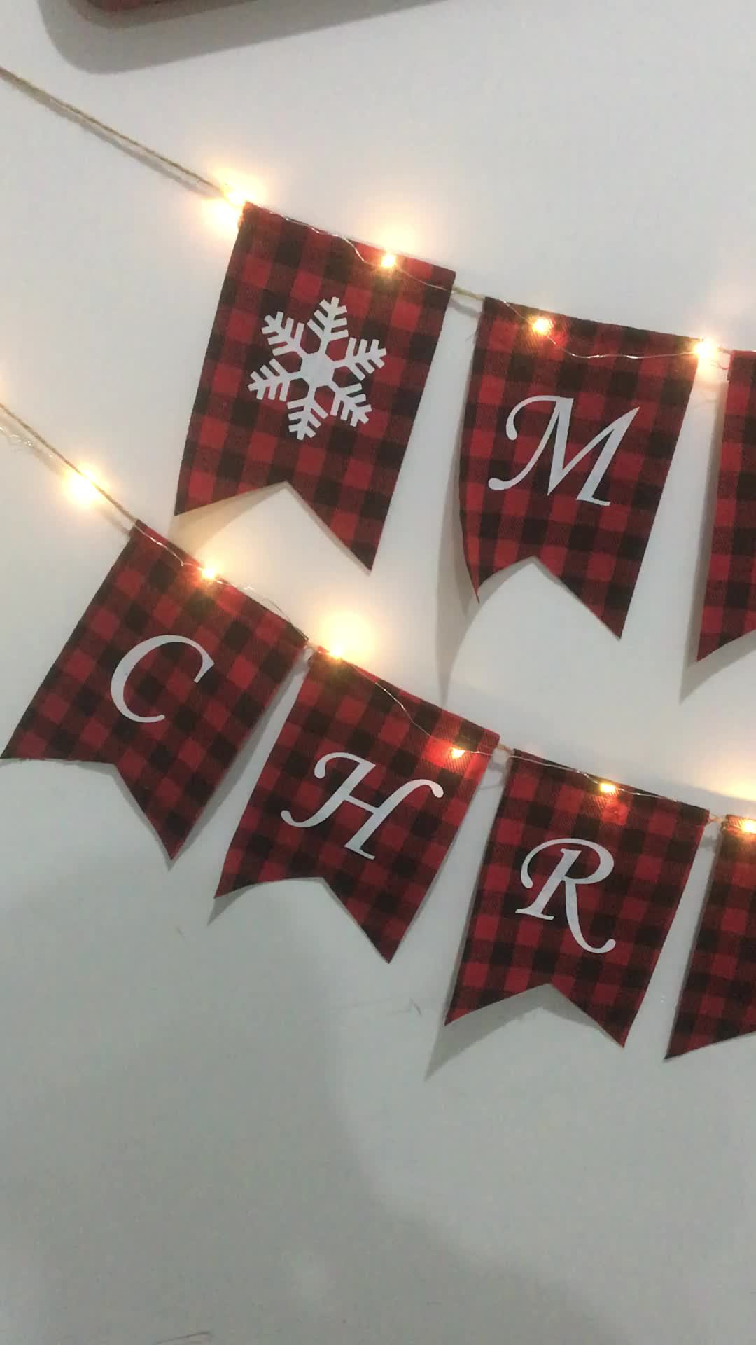 hotsale Christmas home party hanging bunting decorations Red plaid Merry christmas banner