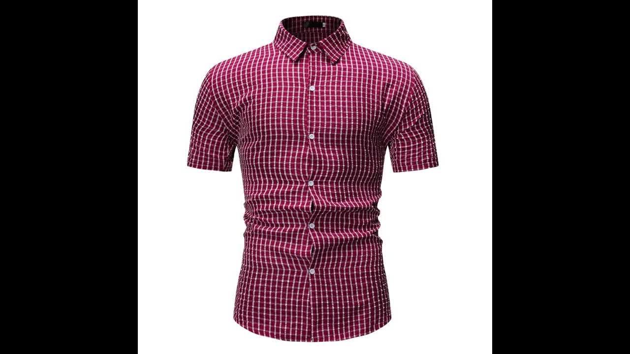 Verano de 2019 tamaño de Europa de manga corta camisa a cuadros camisa para los hombres