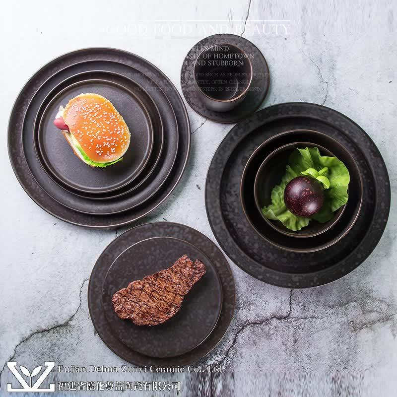 Negro mate de cristal de alta calidad, precio barato ronda de cristal a granel de porcelana cerámica, vajilla,