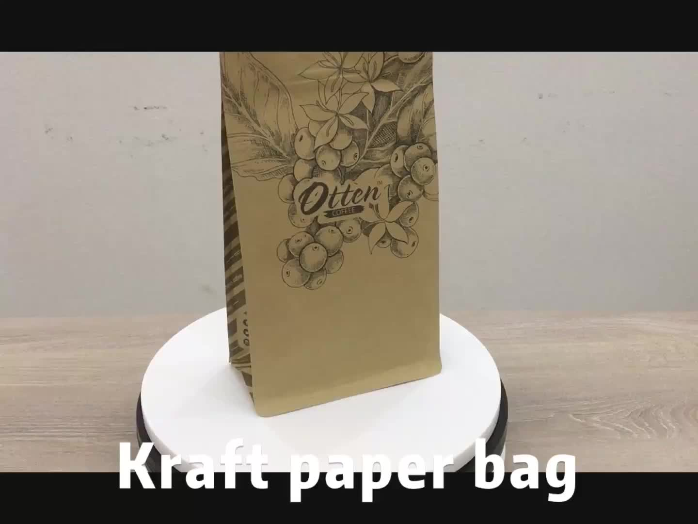 Custom Printing Flat Bottom Kraft Paper Coffee Beans Tea Packing Bag With Valve