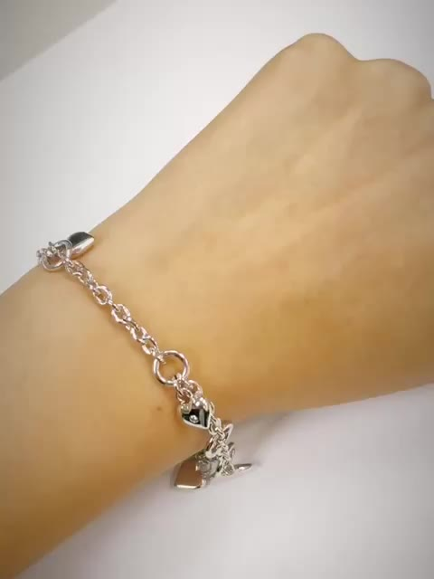 Lovely Brass Rhodium Plated Heart Charms Bracelet Fashion Wholesale Jewelry